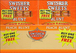 SWISHER SWEETS BLUNT PEACH 5PKS - PROMOTIONAL CARTON 