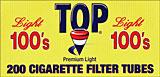 TOP CIGARETTE FILTER TUBES - LIGHT 100'S 200CT BOX