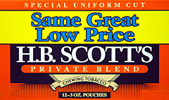 H. B. SCOTT CHEWING TOBACCO 12 COUNT