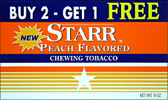 STARR PEACH FLAVORED CHEWING TOBACCO 12 COUNT PROMO