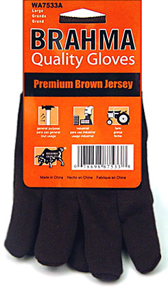 Brahma Brown Jersey Gloves - 12 Pairs