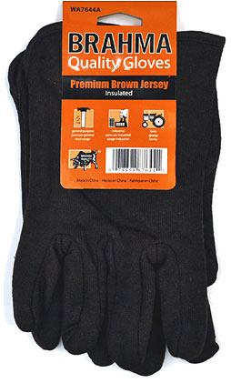 Brahma Brown Jersey Gloves Insulated- 12 Pairs 