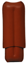 Brown Leather Textured Cigar Case - Capacity: 2 Lonsdales